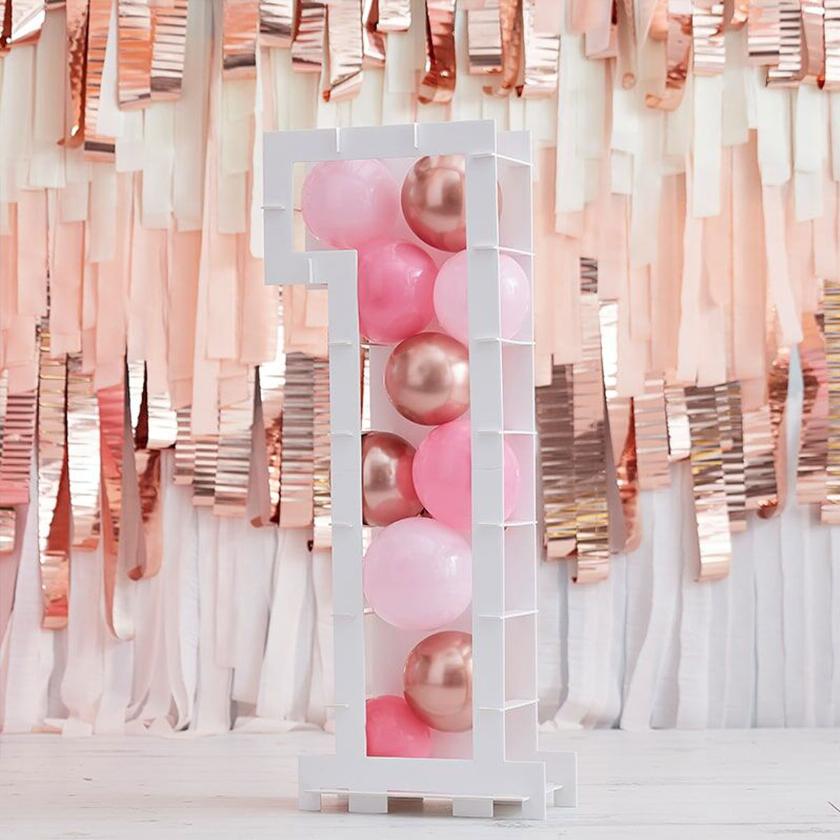 Zahlenständer mit Luftballons Nr.1 - Rose Gold