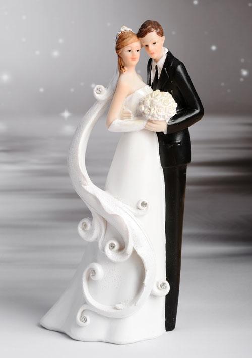 Tortenfigur Hochzeit - Brautpaar mit Brautstrauß