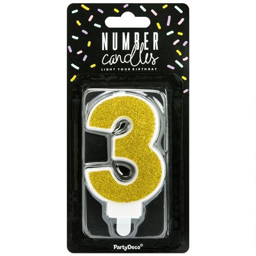 PartyDeco Zahlenkerze Gold - Nummer 3