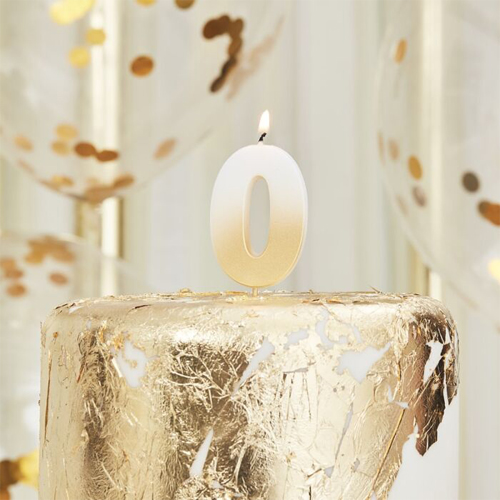 Ginger Ray Gold Ombre Kerze - Zahl 0