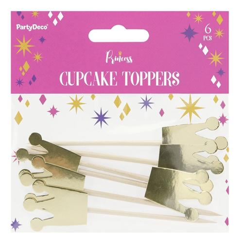 PartyDeco Cupcake Topper Krone - Gold 6 Stück