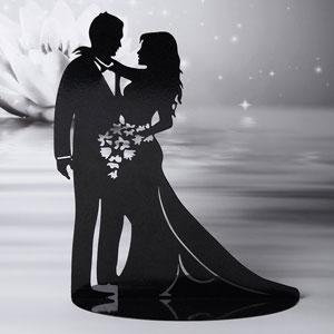 Brautpaar mit Brautstrauss - Silhouette aus Metall